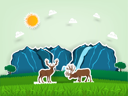 Illustration vector design concept of animal wildlife deers in pop up paper book, grass field scene with deers in paper craft design