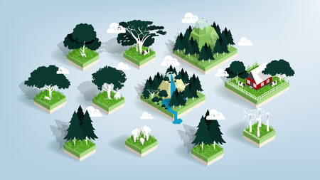 Graphic design vector of green ecology elements, renewable energy and background, environment friendly concept in isometric style, illustration vector of forest, water and city  イラスト・ベクター素材