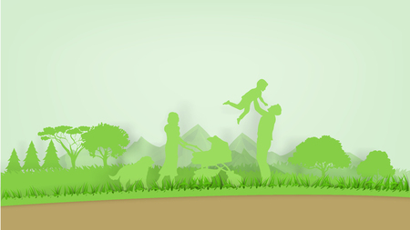 Illustration vector of ecology green world environment and happiness family,graphic design of ecology green world in paper art style  イラスト・ベクター素材
