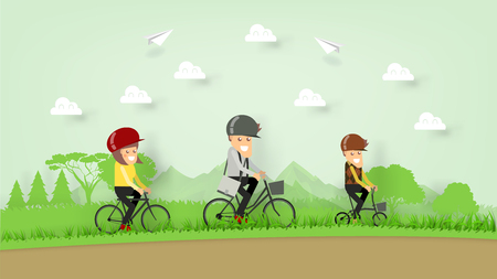 illustration vector paper craft design of happiness family riding bicycle on the hill, family cycling on mountain, family outdoor activity concept  イラスト・ベクター素材