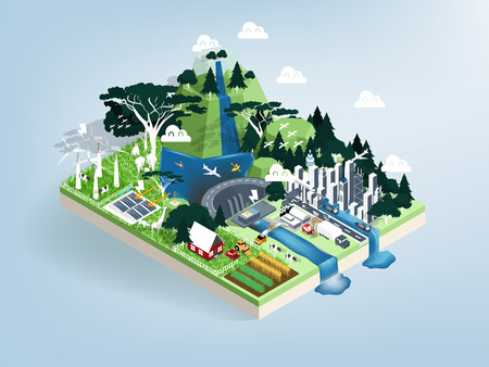 illustration vector isometric design concept of ecology modern city with nature, renewable energy future world concept, eco friendly city.