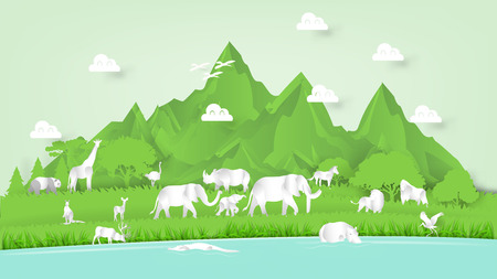 paper art vector of beautiful wildlife nature, graphic design concept of nature outdoor life