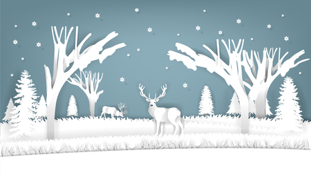 illustration vector design concept of winter scene, paper art of winter