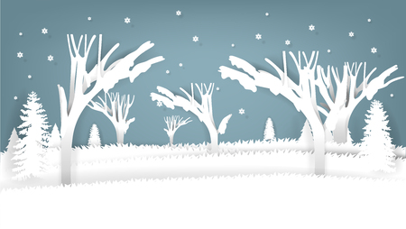 graphic design concept of winter scene in paper art origami style