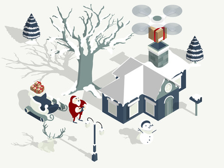 illustration vector of santa claus using drone to drop gift box to childs house, design concept of santa claus drone delivery