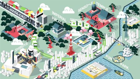 isometric graphic design vector illustration of Tokyo famous place map for travel