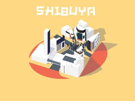 isometric illustration vector graphic design concept of Shibuya, Tokyo, Japan