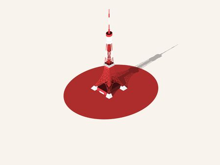 illustration vector graphic design concept of Tokyo Tower, Tokyo, Japan