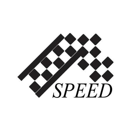 Race flag logo vector template illustration