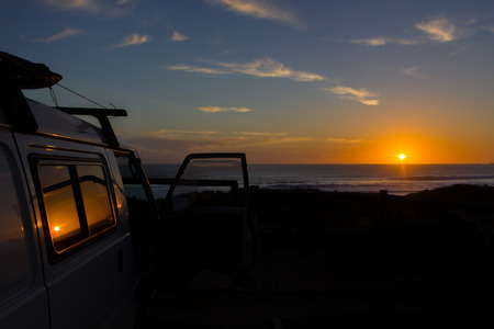 car at Cape Woolamai beach at sunset, Phillip Island, Victoria, Australia Stock Photo