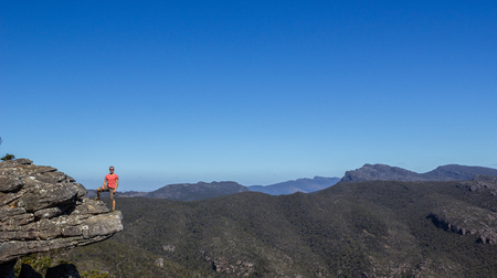 man standing at the Reeds Lookout at the Balconies, Victoria, Australia