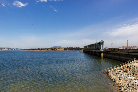 View of Hume Weir on Lake Hume at the Start of the Murray River, Albury, Australia