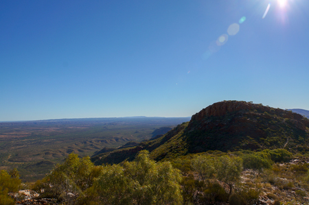 Hiker at the top of Mount Gillen just outside Alice Springs in central Australia.