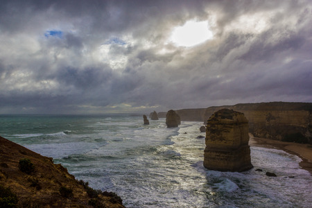 Famous cliffs at 12 Apostel, Beautiful landscape natural attraction. On a sunny day, Great Ocean Road, Victoria