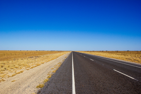 straight road through the dessert of Australia on the Flinders Hightway, Quennsland