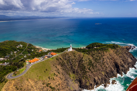 Wategoes Beach aerial view at Byron Bay with lighthouse