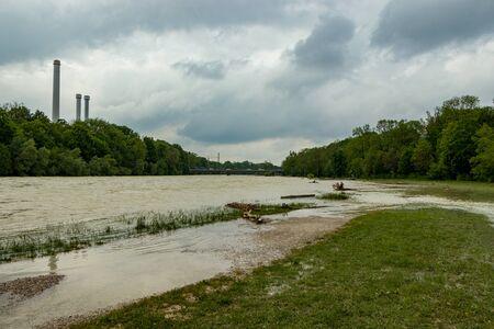 munich, isar, brudermuehlbruecke, Mai 22, 2019: storm deep axel is flooding the isar in munich Editorial
