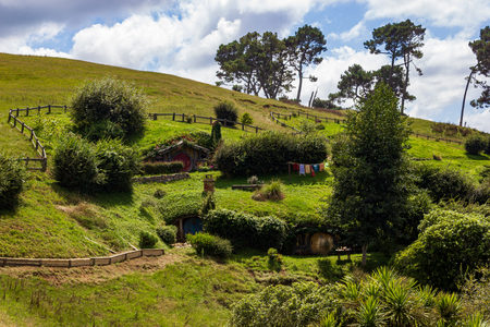 Hobbiton, Movie Set of the Lord of the Rings Movies, Auenland, New Zealand Stock fotó