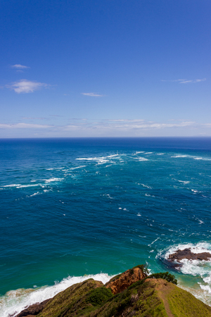 The area of rough water is where the Tasman Sea meets the Pacific Ocean.