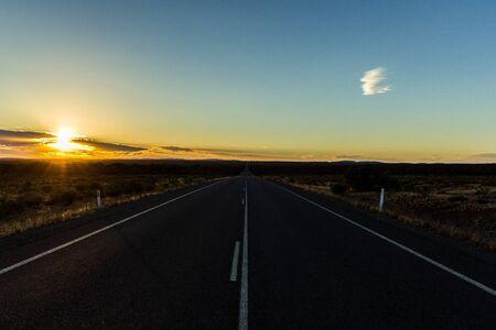 panorama of a straight road through the nullarbor of Australia, South Australia Stok Fotoğraf