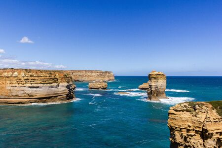 Famous cliffs near 12 Apostel, Beautiful landscape natural attraction, Great Ocean Road, Victoria Stok Fotoğraf - 132614825