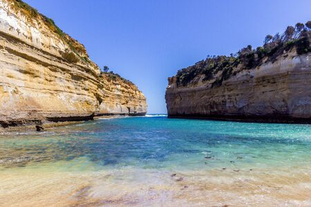 Famous cliffs near 12 Apostel, Beautiful landscape natural attraction, Great Ocean Road, Victoria Stok Fotoğraf - 132614758