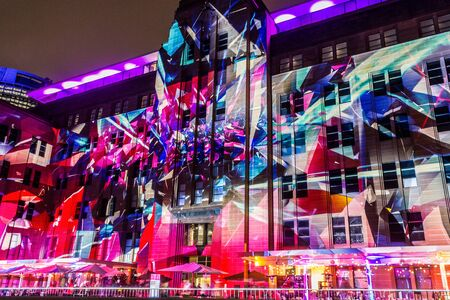 SYDNEY, AUSTRALIA. On May 22, 2015. - An annual outdoor lighting festival with immersive light installations and projections Vivid Sydney the image at Customs House building. Editöryel