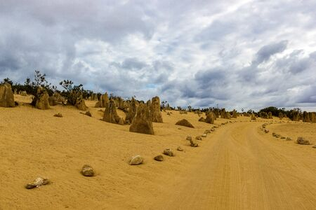 The Pinnacles Desert in the heart of the Nambung National Park, Western Australia. Stok Fotoğraf