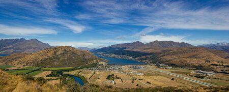 panorama view of Queenstown and Lake Wakatipu, New Zealand