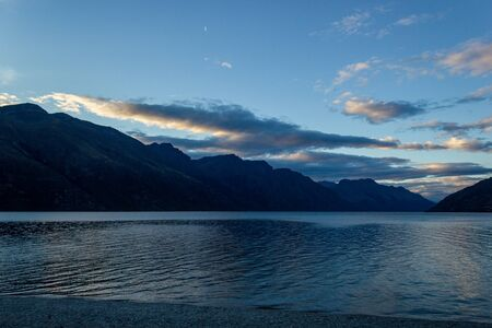 Lake Wakatipu on a free Campground outside of Queenstown during sunset, New Zealand