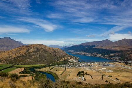 View of Queenstown and Lake Wakatipu, New Zealand Stok Fotoğraf