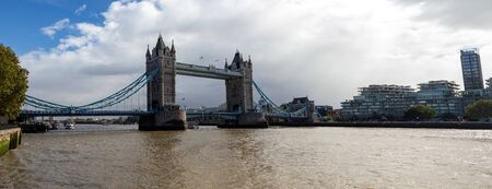 Tower Bridge in London after a heavy rainfall, UK