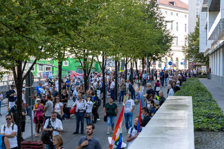 Demonstration in Odeansplatz, Munich, Germany on the 12.09.2020, protest against corona regulations in Bavaria and Germany