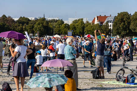 Demonstration in Theresienwiese, Munich, Germany on the 12.09.2020, protest against corona regulations in Bavaria and Germany