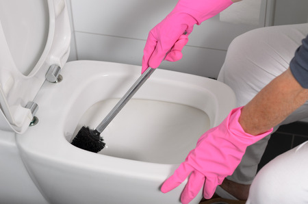 domestic chore: Woman in pink gloves cleaning out the toilet bowl with a brush to remove germs and bacteria under the rim in a concept of cleanliness, hygiene and household chores