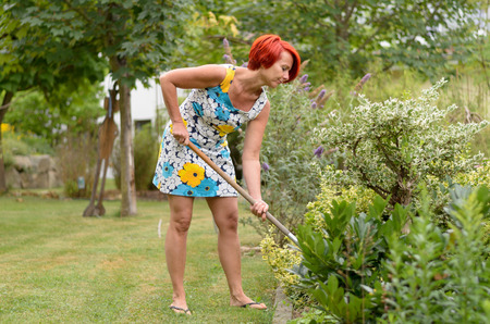 raking: Adult Redhead Woman in a Floral Dress, Raking the Flower Garden at the Backyard Alone.