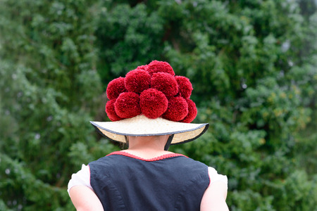 Attractive young woman wearing a traditional Black Forest Bollenhut with its 14 pompoms, back view 스톡 콘텐츠