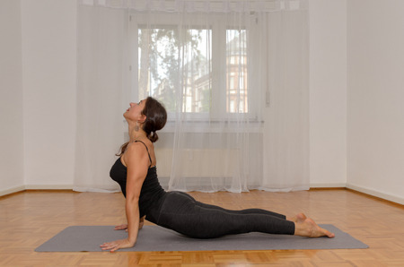 Sporty woman working out at home on a mat on a wooden floor doing press ups on extended arms in a healthy active lifestyle and fitness concept Imagens