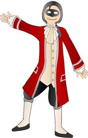 Harlequin Man in Red Coat