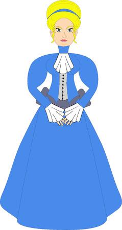 edwardian: Victorian Woman in Blue Illustration