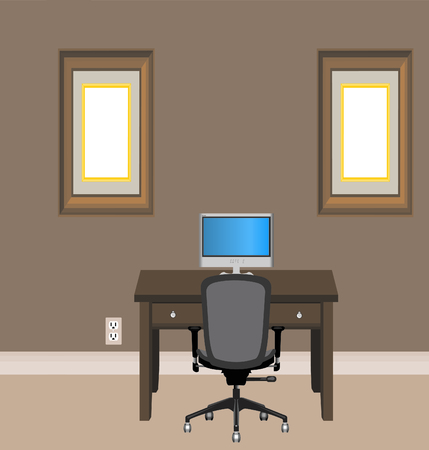 undecorated: Simple and plain small Home Office illustrated Illustration