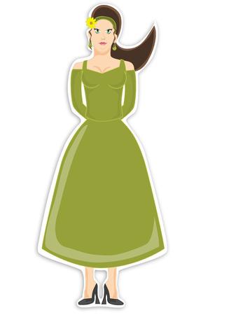 Female in green dress