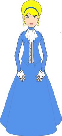 smart girl: Edwardian Female in blue dress Illustration