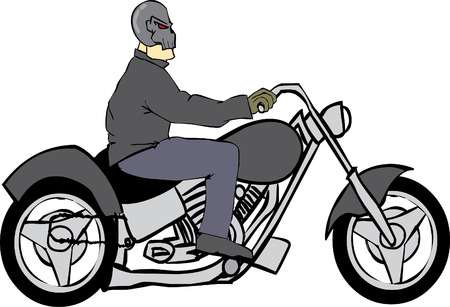 cruiser bike: Bike Rider with Skull Helmet