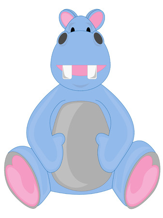 small group of objects: Happy Light Blue Hippo