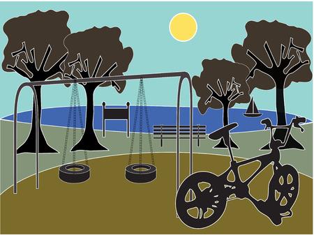 나무, 그네, 호수 및 자전거가있는 공원 놀이터