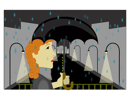 Sorrow City woman walking in the rain Stock Vector - 2595697