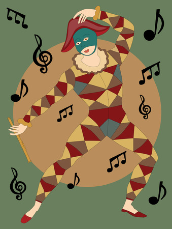 minstrel: Musical masked man with flute dancing notes poster style