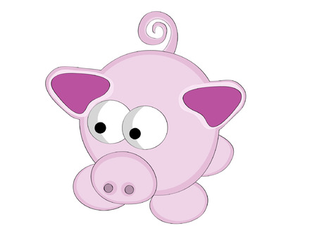 squeal: Vector illustration of surreal style cartoon pink pig