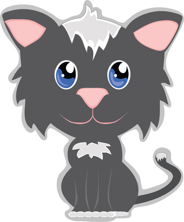 purr: Cute Cat with big head and little adorable body Illustration